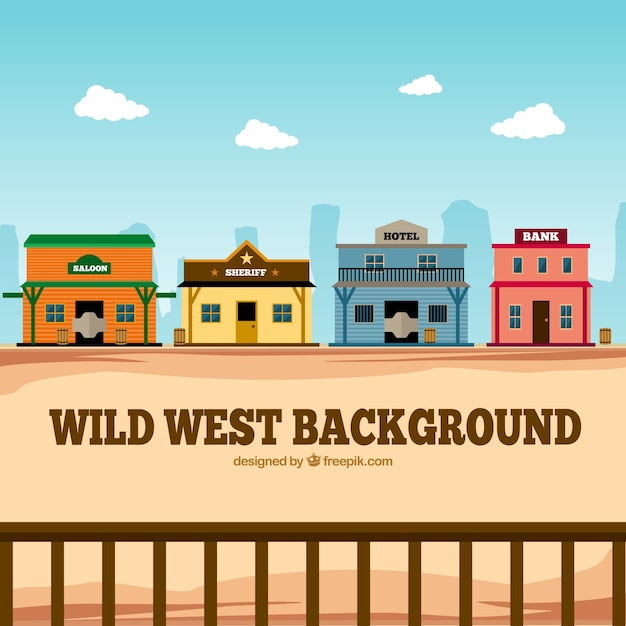 Flat fond occidental avec des bâtiments colorés Vecteur gratuit