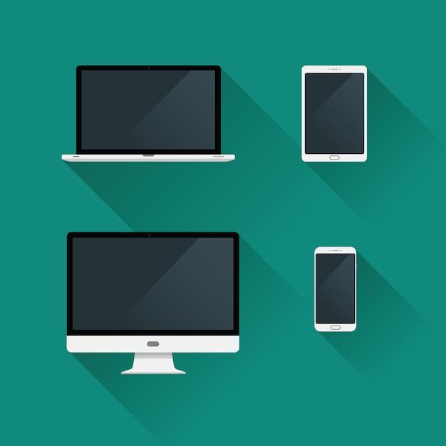 Flat gadget desktop icons set Vecteur Premium