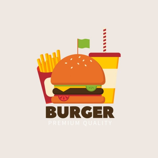 Flat Hamburgers Logo Vecteur gratuit