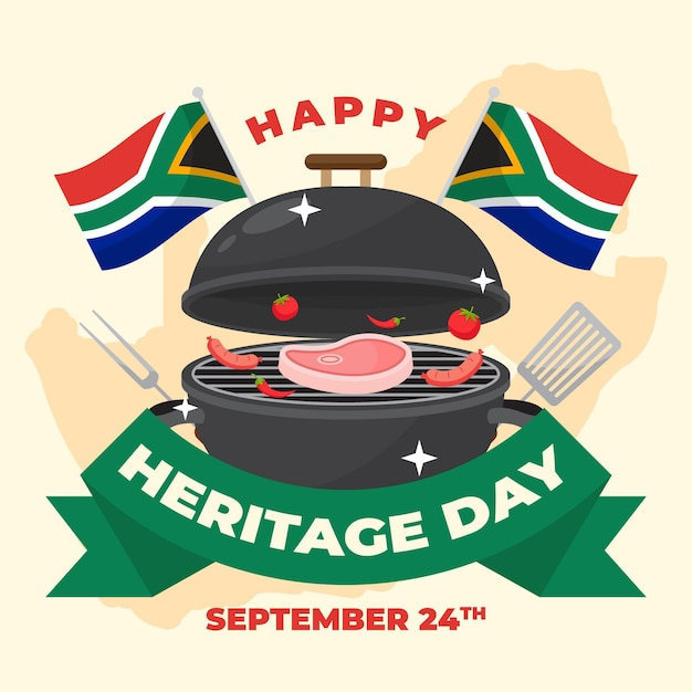 Flat Heritage Day Afrique Du Sud Vecteur gratuit