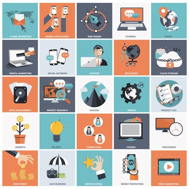 Flat icon set pour les affaires Vecteur gratuit