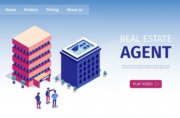 Flat is written real estate agent page de destination Vecteur Premium