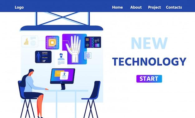 Flat landing page proposant une nouvelle technologie rfid Vecteur Premium