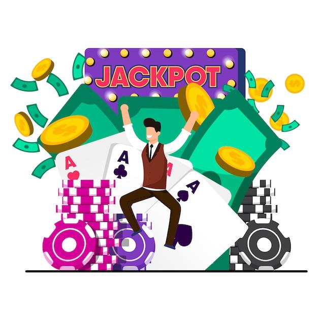 Flat luck win illustration vectorielle de casino jackpot. Vecteur Premium