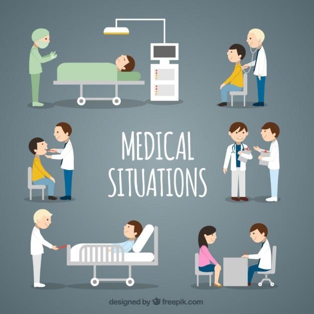 Flat médicale situations collection Vecteur gratuit