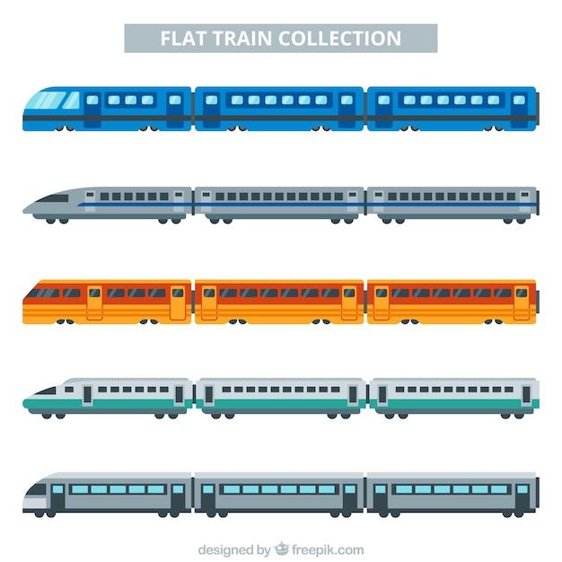 Flat multicolor train collectión Vecteur gratuit
