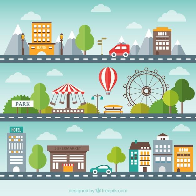 Flat Pack de paysage urbain Vecteur gratuit