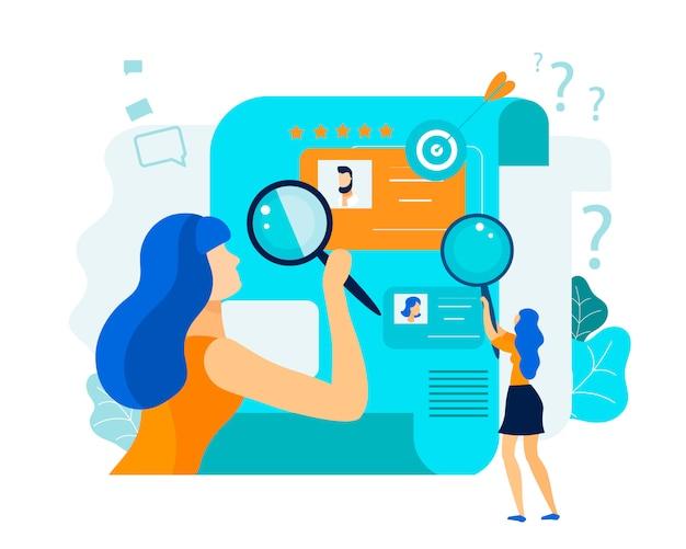 Flat review employees resume illustration vectorielle. Vecteur Premium