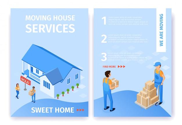 Flat set moving house services sweet home vector. Vecteur Premium