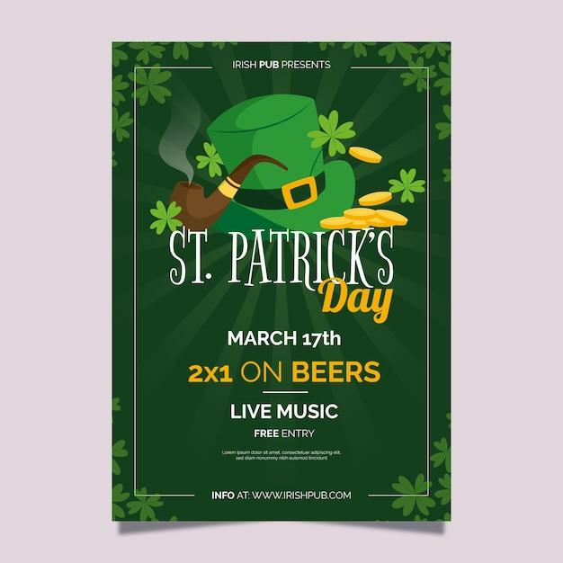Flat St. Modèle De Flyer / Affiche Patrick's Day Avec Chapeau Vecteur gratuit
