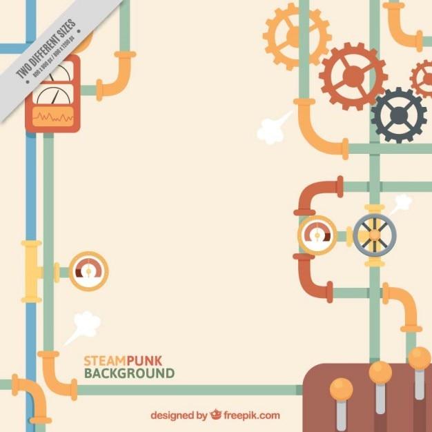 Flat Steampunk Bêchage Fond Vecteur gratuit