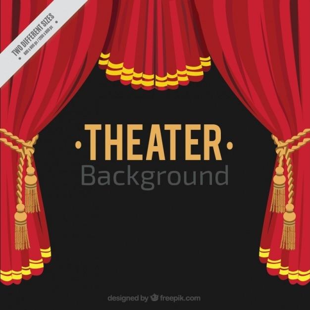 Flat théâtre de fond avec des rideaux rouges Vecteur gratuit