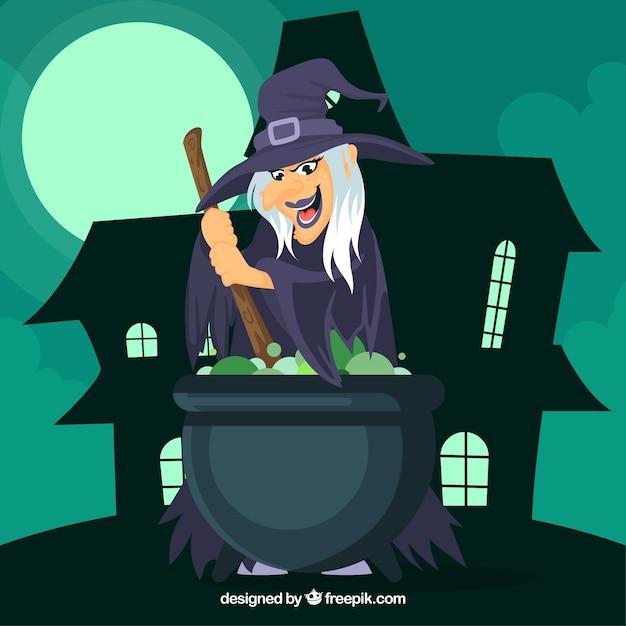 Flat Witch Cooking A Potion Vecteur Premium
