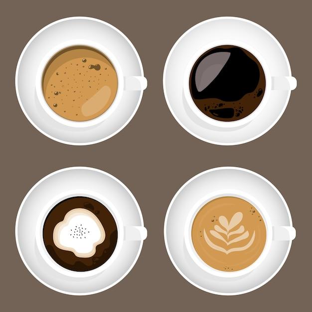 Flatlay design for set tasse à café isolé sur fond blanc Vecteur Premium