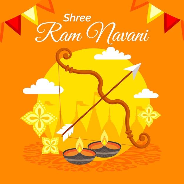 Flèche Et Arc Avec Bougies Pour Ram Navami Vecteur gratuit