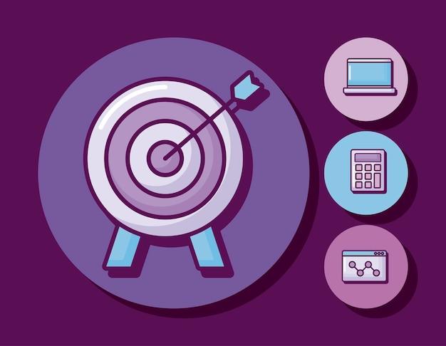 Flèche de cible avec icônes définies Vecteur gratuit