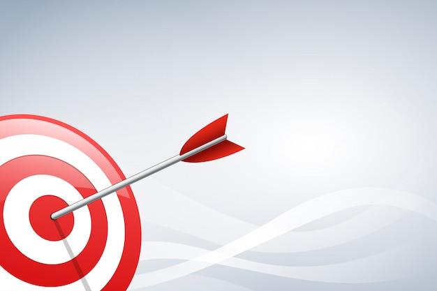 Flèche frapper une cible cible sur fond de forme d'onde. illustration vectorielle Vecteur Premium