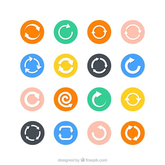 Flèche icônes du cycle Vecteur gratuit