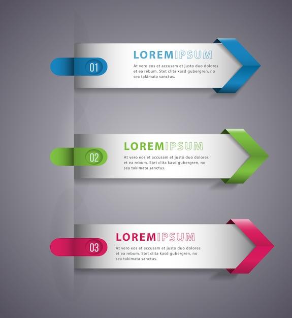 Flèche d'infographie bannière modèle numérique moderne de vecteur. Vecteur Premium