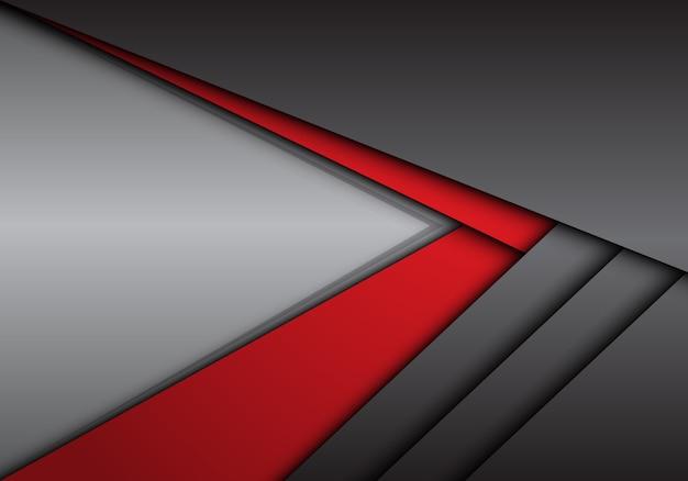Flèche Métallique Rouge Gris Abstrait Direction Avec Fond Blanc. Vecteur Premium