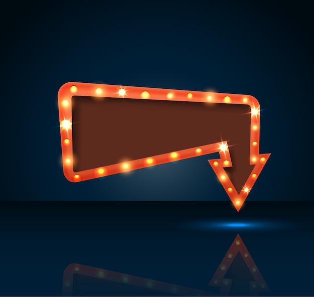 Flèche rétro avec un espace pour le fond de texte bleu Vecteur Premium