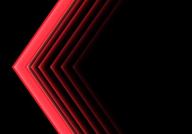 Flèche rouge direction néon sur fond noir. Vecteur Premium