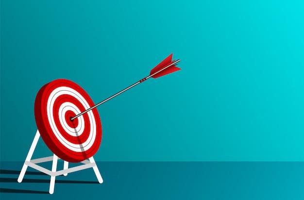 La flèche rouge fléchit dans le cercle cible. objectif de réussite de l'entreprise. sur fond bleu. direction. Vecteur Premium