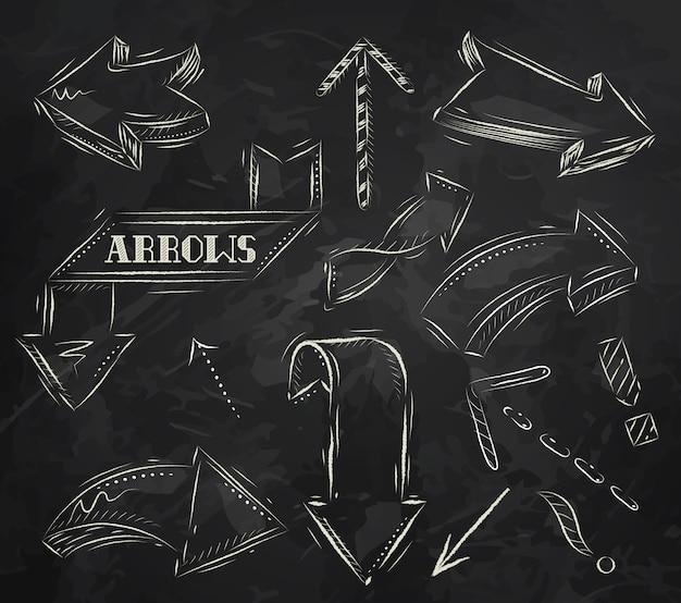 Dessin A La Craie flèche stylisée dessin à la craie sur le tableau noir | télécharger