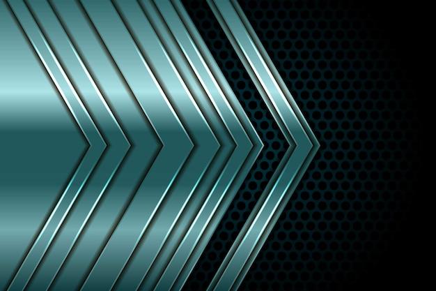 Flèche Verte Argentée Abstraite Se Chevauchent Sur La Lumière Blanche Et Le Noir Avec La Conception De Combinaison De Cercle Vecteur Premium
