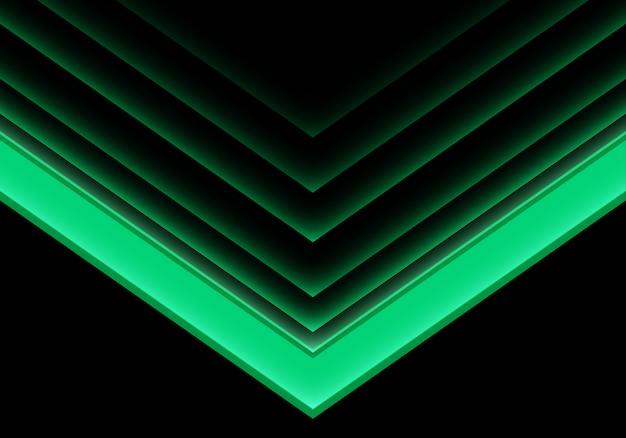 Flèche verte lumière direction néon sur fond noir. Vecteur Premium