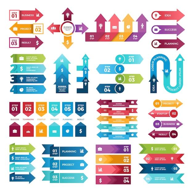 Flèches de couleur pour les présentations commerciales, collection d'éléments infographiques Vecteur Premium