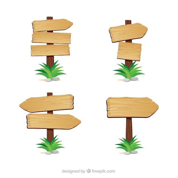 Flèches en bois indications Vecteur gratuit