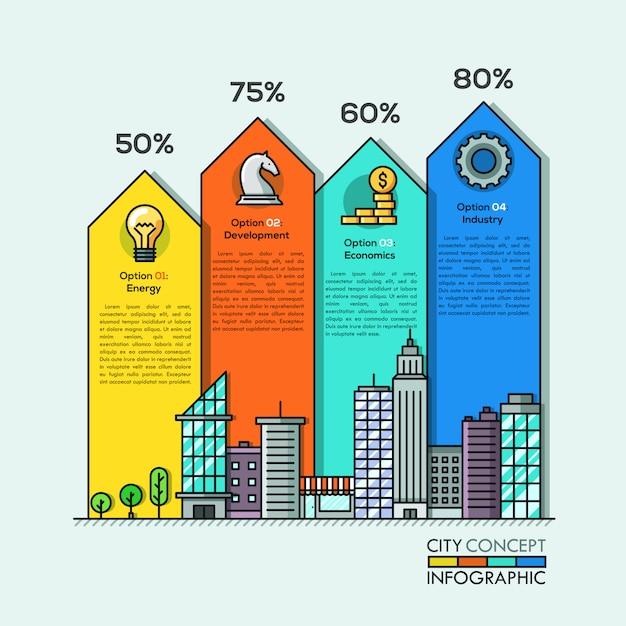 Flèches d'infographie de la vie en ville Vecteur Premium