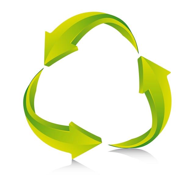 Flèches vertes avec ombre recycler signe vector illustration Vecteur Premium