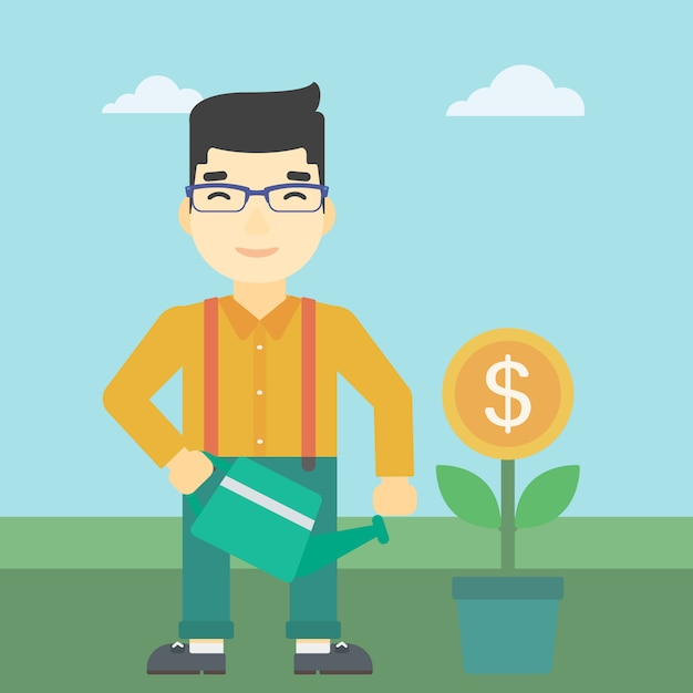 Fleur d'argent d'arrosage homme d'affaires Vecteur Premium
