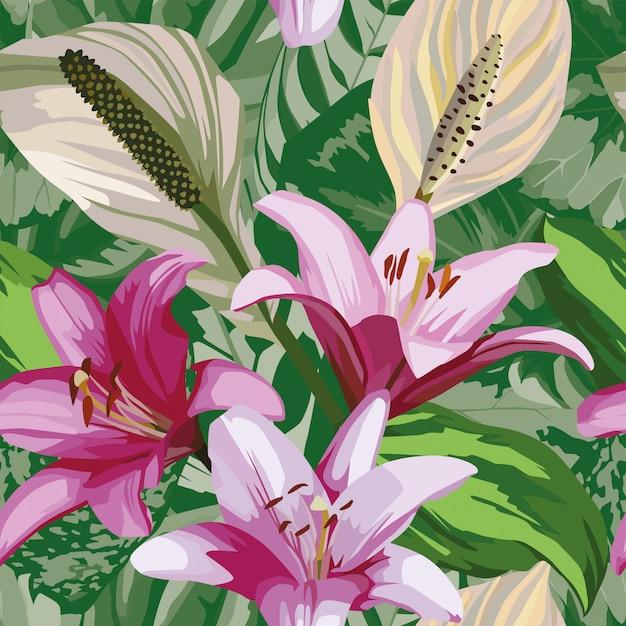 Fleur bégonia feuilles modèle sans couture papier peint Vecteur Premium