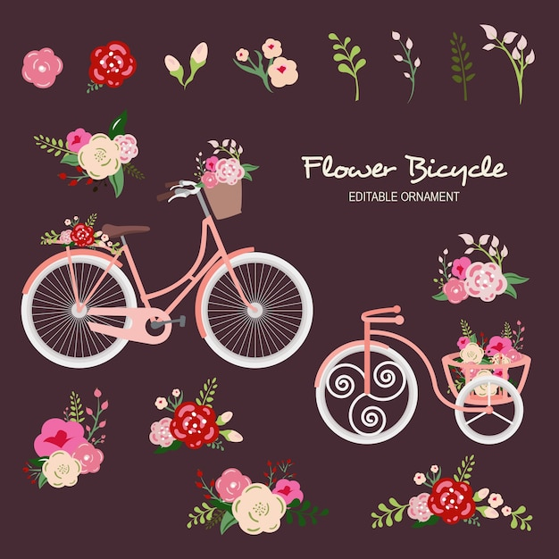 Fleur bicycle editable ornement Vecteur Premium