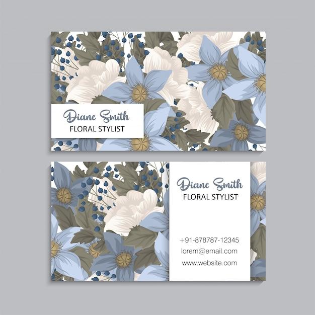 Fleur cartes de visite bleu floral Vecteur gratuit