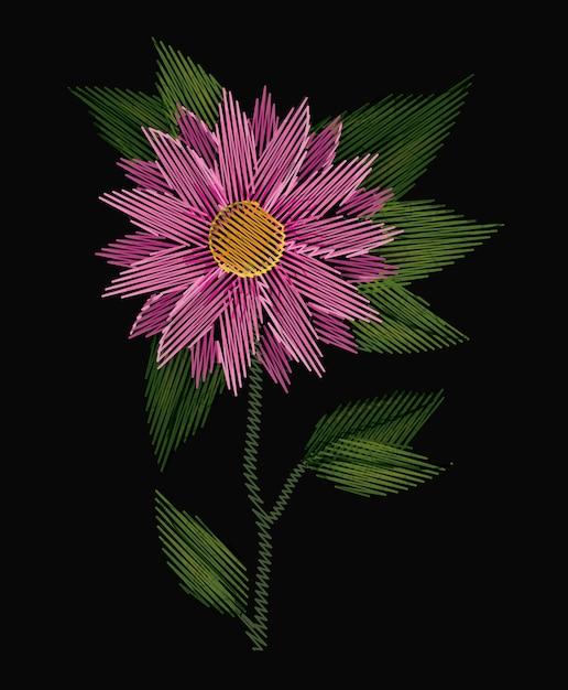 Fleur De Chrysanthème Coloré Vecteur Premium