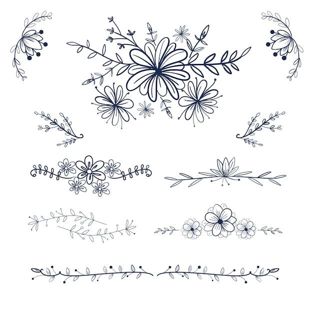 Fleur dessiné à la main et tourbillon pour l'ornement de mariage et le cadre. Vecteur Premium