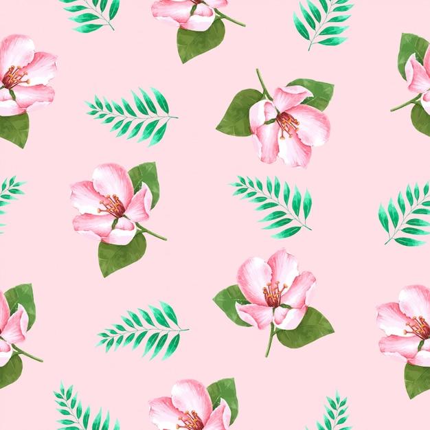 Fleur été seamless pattern à l'aquarelle Vecteur Premium