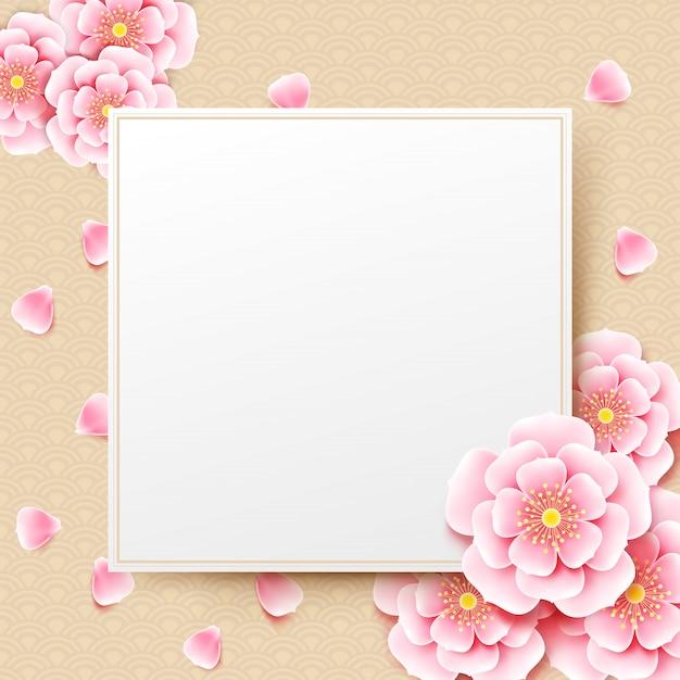 Fleur de fleur de prunier chinois avec fond d'art chinois Vecteur Premium