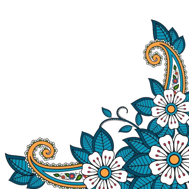 Fleur de henné et fond paisley Vecteur Premium