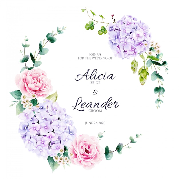 Fleur D'hortensia Et Couronne De Verdure. Style Aquarelle. Vecteur Premium