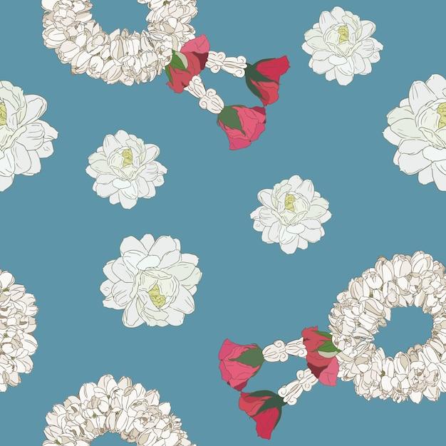 Fleur de jasmin et guirlande, modèle sans couture croquis dessiner main. Vecteur Premium