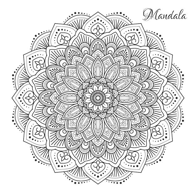 Fleur mandala Vecteur Premium