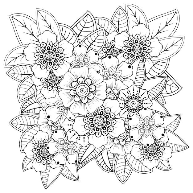 Fleur De Mehndi Dans Un Style Oriental Ethnique. Ornement De Griffonnage. Contour Main Dessiner Illustration. Page De Livre De Coloriage. Vecteur Premium