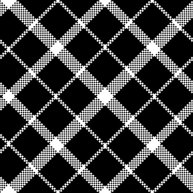 Fleur de modèle de texture transparente de tissu noir pixel écossais tartan Vecteur Premium