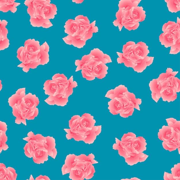 Fleur d'oeillet rose sur fond bleu. Vecteur Premium