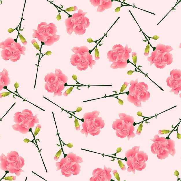 Fleur d'oeillet rose sur fond rose Vecteur Premium